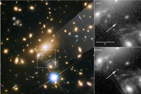 ICARUS: Et fenomen kalt «gravitasjonslinse» gjorde lyset fra stjernen 2000 ganger kraftigere, slik at det var mulig å se lyset, som har reist gjennom rommet i ni milliarder år, fra Hubble-teleskopet.