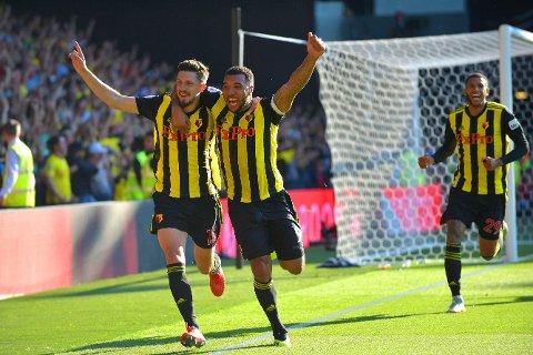 HELTER: Både Craig Cathcart (til venstre) og Troy Deeney fikk mål å juble for i Watfords oppsiktsvekkende seier over Tottenham.