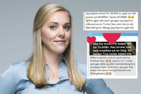 FORTELLER OM SVINDEL: Lene Drange i Luksusfellen blir fortalt av sine mange følgere at salg av kredittkort er en kjærkommen (og ulovlig) inntekt.