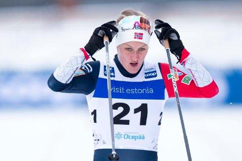 SYK: Kathrine Harsem under sprint prolog i verdenscupen i Otepää Foto: Terje Pedersen / NTB scanpix