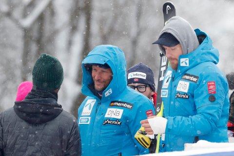 SKADER: Aksel Lund Svindal (kne) og Kjetil Jansrud (hånd) er begge skadd, men håper på å rekke VM i Åre.