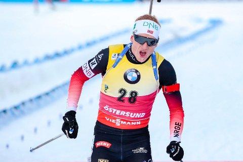 NYTT VM-GULL: Johannes Thingnes Bø tok sitt andre VM-gull i Östersund.
