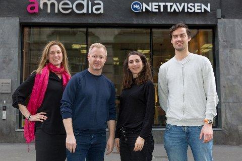 Prosjektleder for innhold Liv Ingrid Liaaen Mellemseter, direktør for innovasjon Pål Nisja-Wilhelmsen, prosjekteier for nyutvikling Mariya Valcheva og prosjektleder Henrik Wiese-Hansen.