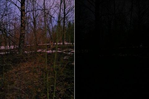 Bildet til venstre er tatt med Huawei P30 Pro, bildet til høyre er tatt med iPhone Xs Max på samme tidspunkt. Begge bilder er tatt med vanlig bildemodus.