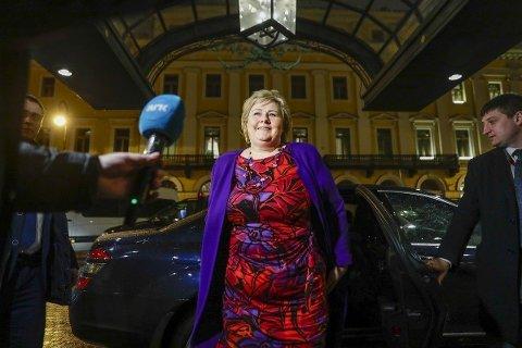Statsminister Erna Solberg ankom mandag kveld St. Petersburg i Russland.