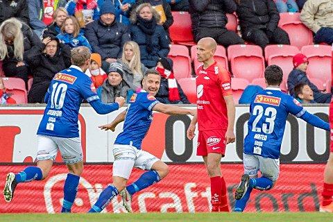 SCORET. Mads Reginiussen jubler for sin scoring mot Brann i Bergen.