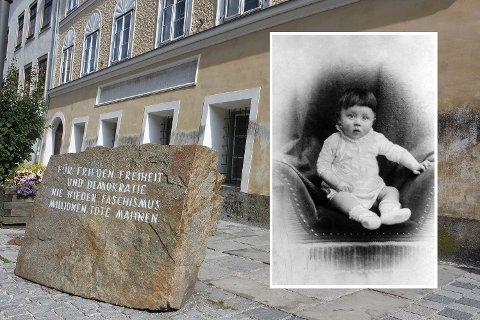 HIITLERS FØDESTED: Adolf Hitler ble født 20. april 1889. Familien bodde i denne bygården i byen Braunau am Inn i dagens Østerrike. På minnesteinen står det «For fred, frihet og demokrati. Aldri fascisme igjen, er oppfordringen fra millioner av døde».