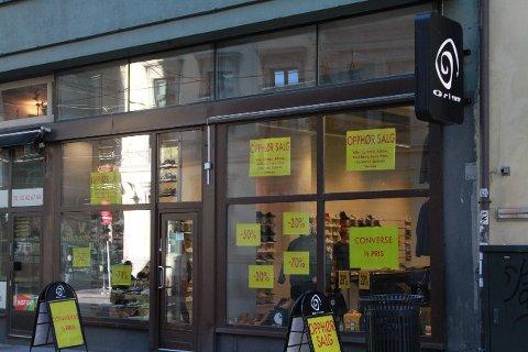 OPPHØRSSALG: Grim var blant butikkene som måtte gi seg i fjor i Oslo sentrum.