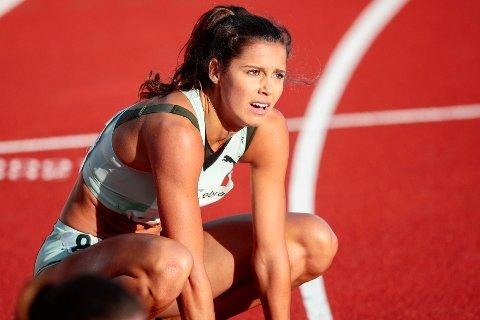 SLÅTT AV FIRE AMERIKANERE: Amalie Iuel under 400 meter hekk for kvinner under Bislett Games.