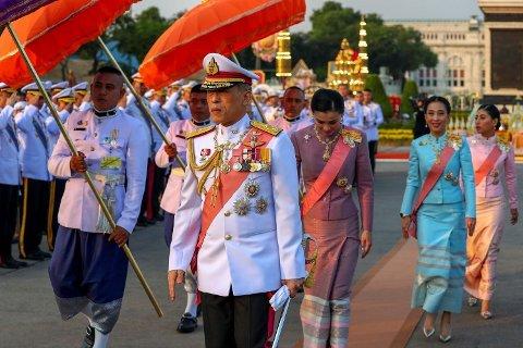 Thailandske kong Maha Vajiralongkorn, dronning Suthida, prinsesse Bajrakitiyabha og prinsesse Sirivannavari Nariratan på et arrangement til minne minne om kong Chulalongkorns død. Bangkok, Thailand, 23. oktober 2019.