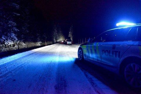 MANN OMKOM: To biler kolliderte front til front i Nannestad mandag, og en av bilene havnet i grøfta. Det ble utført førstehjelp på stedet, men livet sto ikke til å redde for den ene personen, en mann i 30-årene.