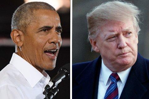 DRONEKRIGERE: Tidligere president Barack Obama (til venstre) ga grønt lys til minst 563 droneangrep som kostet tusenvis av mennesker livet under sin tid i Det hvite hus. Etterfølgeren Donald Trump er ennå ikke oppe på samme nivå.