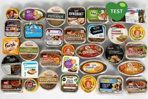 STOR TEST: Bramat har testet en lang rekke forskjellige leverpostei-varianter. Alle foto: Erik Helgeneset