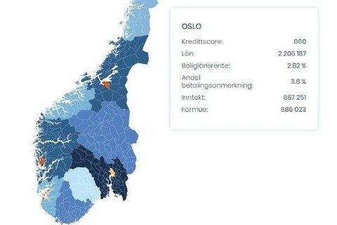 Lenger ned i saken kan du klikke deg inn på et interaktivt kart som viser økonomiske data for innbyggerne i landets fylker.