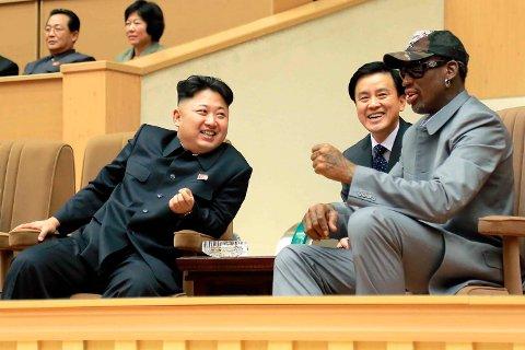 FLERE TURER: Dennis Rodman reiste på flere besøk til Nord-Korea for å møte Kim Jong-un.
