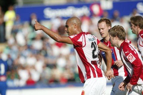 Douglas Sequeira feirer etter å ha gitt Tromsø ledelsen 2-1 mot Stabæk i 2008.