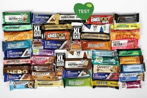 STORT UTVALG: Det finnes et bredt utvalg av proteinbarer på markedet.