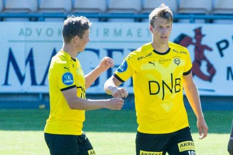 Thomas Lehne Olsen scoret i treningskampen mot Jerv. Lørdags skal han forsøke å senke KFUM.