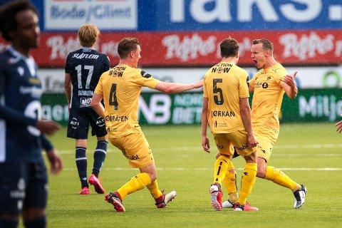 DAGENS MANN: Med sin første scoring for Bodø/Glimt ordnet Marius Lode (til høyre) en plass i historiebøkene for klubben som topper Eliteserien.