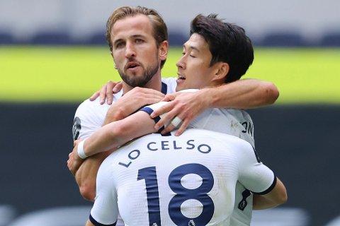 STOR FORESTILLING: Harry Kane (til venstre) var tilbake i virkelig storslag da Tottenham trenge det som mest. Som vanlig gjorde han livet surt for Leicester.