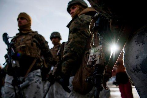 VIL ØVE MER I NORGE: Den norske deltakelsen ved norske øvelser vil øke, opplyser en talsmann for USAs marinekorps. BIldet viser US Marines på øvelsen Trident Juncture i Oppdal i 2018.