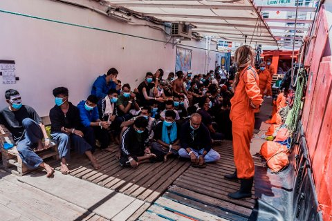 OCEAN VIKING: Omtrent 180 migranter var strandet ombord på skipet Ocean Viking.