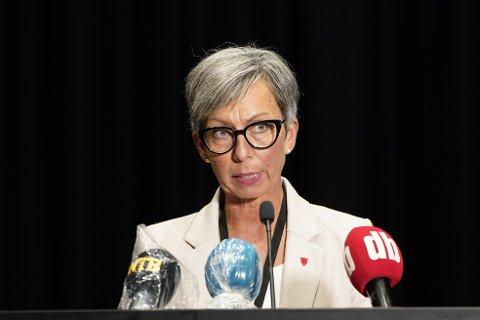 Ordfører Hanne Tollerud under pressekonferansen onsdag. Foto: Lise Åserud / NTB scanpix