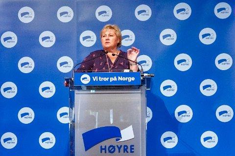Statsminister Erna Solberg under et møte for Høyres stortingsgruppe og regjeringsmedlemmer tirsdag. Foto: Ole Berg-Rusten / NTB scanpix