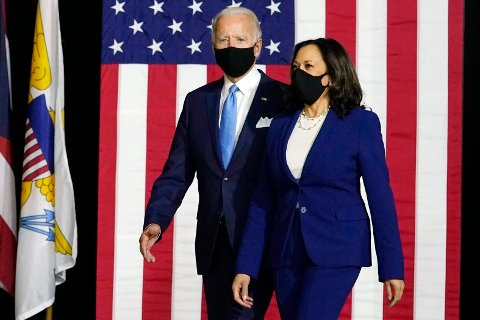 Demokratenes presidentkandidat Joe Biden sammen med sin visepresidentkandidat Kamala Harris