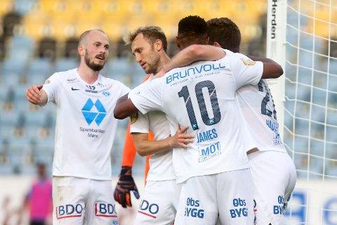 LETTELSE: Molde kunne til slutt juble etter vinnermålet fra Leke James et kvarter før full tid i Slovenia.