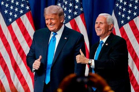 STILLER TIL GJENVALG: USAs president Donald Trump og visepresident Mike Pence, her på republikanernes landsmøte 24. august, stiller til gjenvalg for fire nye år i Det hvite hus.