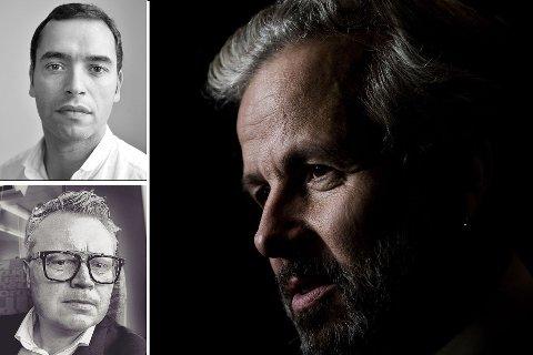 Forlegger Frode Saugestad (øverst) kritiserer Vidar Kvalshaug (under) for å utnytte et ikke-eksisterende vennskap med Ari Behn for å tjene penger.