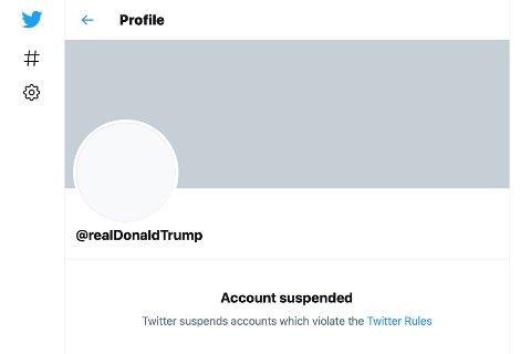 Slik ser den personlige Twitter-kontoen til USAs president Donald Trump ut nå. Skjermdump: AP / NTB
