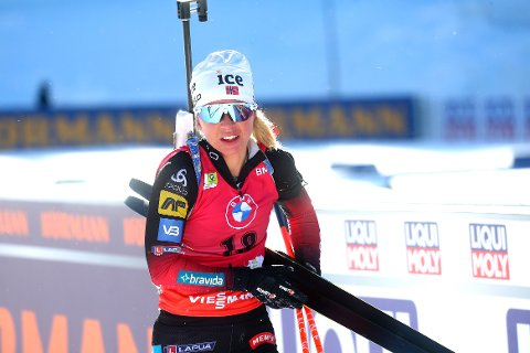 GULL: Tiril Eckhoff kunne juble for gull på VM-sprinten i Pokljuka.