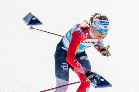 RUTINERT VM-LØPER: Maiken Caspersen Falla gikk Norges ankeretappe på VM-lagsprinten.