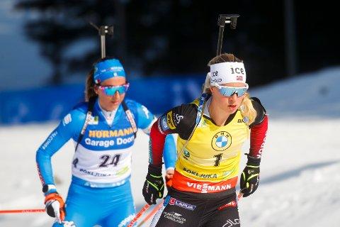 Tiril Eckhoff vant lørdagens sprint i verdenscupen. Foto: Primoz Lovric / NTB