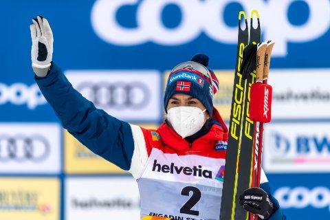 TIL TOPPS: Heidi Weng vant tremila under verdenscupavslutningen i Sveits.