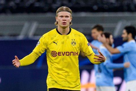 MÅLLØS: Erling Braut Haaland klarte ikke å tegne seg på scoringslista da Borussia Dortmund røk ut av Champions League mot Manchester City.