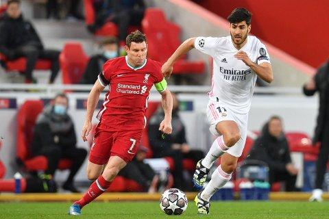 KLAR TALE: Kaptein James Milner (til venstre) mener Liverpool fortjente mer da Real Madrid og Marcos Asensio sendte scouserne ut av Champions League.