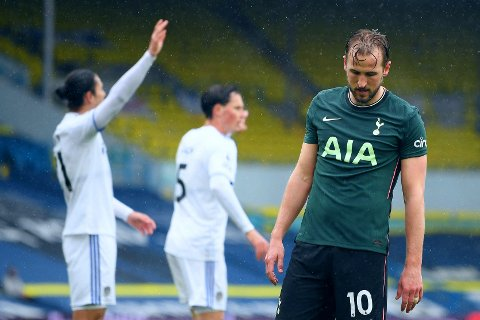 UNDERKJENT: Premier League-toppscorer Harry Kane trodde han hadde gitt Spurs et meget viktig ledermål. Men både kampens dommere og VAR konkluderte med offisde.