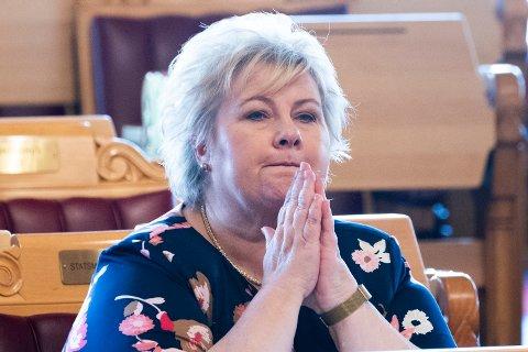 VALG-KAMP: Statsminister Erna Solberg (H) kjemper om gjenvalg i stortingsvalget i september, men har både målinger og statistikken mot seg. - Men mange bestemmer seg sent, påpeker valgforsker fire måneder før valget.