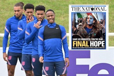 HÅPER PÅ ITALIA: Italias landslagssjef Roberto Mancini prydet lørdag forsiden på den skotske avisen The National.