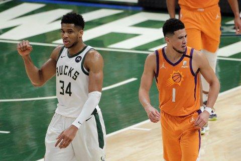 Giannis Antetokounmpo og Milwaukee Bucks har slått tilbake i finaleserien mot Devin Booker og Phoenix Suns. Foto: Aaron Gash / AP / NTB