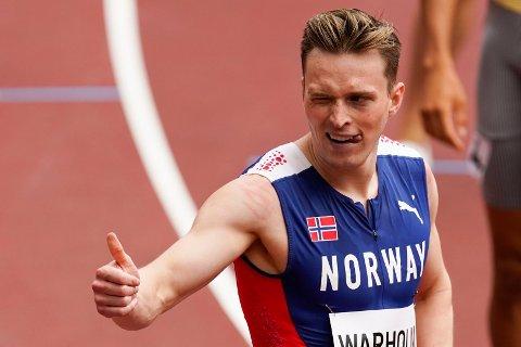 ENKELT VIDERE I OL: Karsten Warholm hadde få problemer med å gå til semifinale på 400 meter hekk.