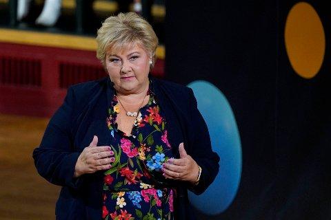 Statsminister og Høyre-leder Erna Solberg har ikke tenkt å gi opp til tross for flere fall på meningsmålinger rett før valget. Foto: Gorm Kallestad / NTB