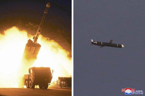 Kombinasjonsfoto utsendt av nordkoreanske myndigheter som viser bilder fra det som skal være helgens rakettester. Foto: KCNA / Korea News Service via AP / NTB
