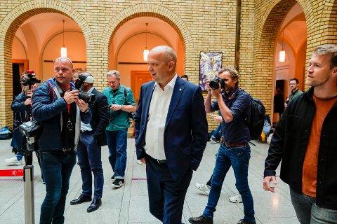 Sp-leder Trygve Slagsvold Vedum under et pressetreff etter sentralstyremøtet i partiet. Foto: Heiko Junge / NTB