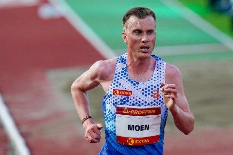 Sondre Nordstad Moen her i aksjon på Bislett i juni. Lørdag ble han norsk mester på halvmaraton. Foto: Lise Åserud / NTB.