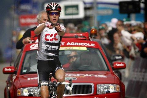 Chris Anker Sørensen vant en etappe i Critérium du Dauphiné i 2008. Foto: Laurent Cipriani / AP / NTB