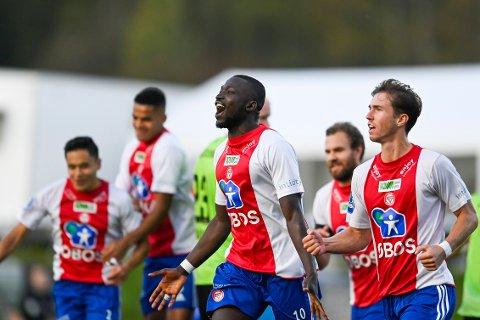 Alagie Sanyang scoret ett av målene da KFUM slo ut Kristiansund med 3-1 i cupen. Foto: Annika Byrde / NTB